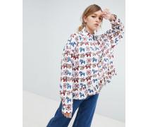 Bluse mit Schößchen-Saum und durchgängigem Pony-Print