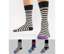 Gestreifte/Gepunktete Socken im 3er-Pack