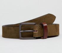 Gürtel aus Wildleder in Khaki mit kontrastierender Schlaufe