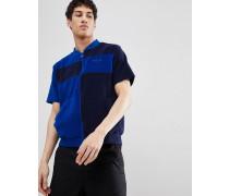 Black Linees Frottee-Sweatshirt mit Farbblock-Design und Reißverschluss