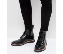 Wide Fit - Stiefel zum Schnüren aus schwarzem Leder