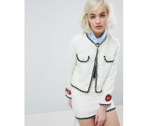 Kurz geschnittene figurbetonte Tweed-Jacke mit Perlenbesatz Kombiteil