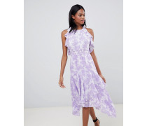 Mehrlagiges Satin-Kleid mit Ausbrennermuster