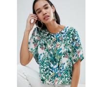 Mit Blumen bedrucktes gewebtes T-Shirt