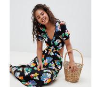 ASOS Tall - Geknöpftes Nachmittagskleid mit seitlichem Zierausschnitt und tropischem Print
