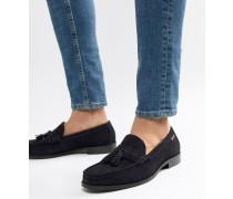 Loafer mit Quasten aus marineblauem Wildleder