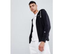 zip through hoodie with hood logo in black