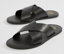 KG By Kurt Geiger - Sandalen aus schwarzem Leder mit überkreuzten Riemen