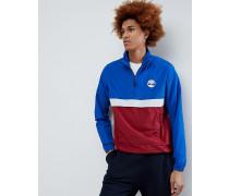 Verstaubare Jacke zum Überziehen mit Stehkragen und Farbbockdesign in Blau/Rot/Grau