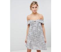 Schulterfreies Kleid aus Jacquard-Mischung