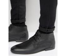 Chukka-Stiefel aus schwarzem Leder