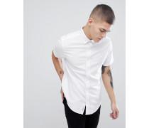 Schmal geschnittenes kurzärmliges Oxford-Hemd mit Button-Down-Kragen in Weiß