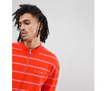 Gestreiftes Sweatshirt mit kurzem Reißverschluss in Rot exklusiv bei ASOS