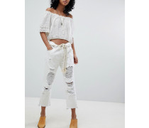 Festival - Hooligans - Jeans mit tiefem Bund geradem Beinschnitt und Rissen