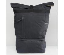 Ripstop-Rucksack mit gerollter Klappe und kleinem Logo in Schwarz