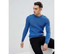 Gerippter Pullover am Ärmel blau