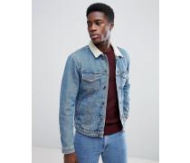 Jeansjacke mit Kunstfell-Kragen