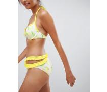 Gerüschte Bikinihose mit Ausschnitt