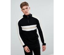 Pullover mit halblangem Reißverschluss in Retro-Blockfarben