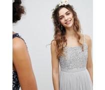 Midi-Brautjungfernkleid mit Paillettenoberteil Tülleinsatz und Camisole-Trägern