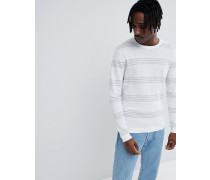Baumwoll-Pullover mit Streifen in Weiß und Grau