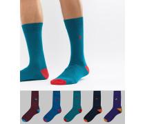 Mehrfarbige Socken mit aufgestickten Tieren im 5er-Pack