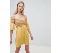 Sunny - Kleid mit Carmen-Ausschnitt und mehrfarbiger Raffung