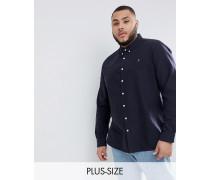 PLUS - Brewer - Schmal geschnittenes Oxford-Hemd in Marineblau