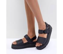 Voss - Flache Sandalen aus schwarzem Leder