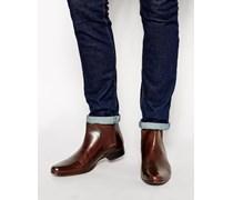 Chelsea-Stiefel aus braunem Leder mit Zuglasche hinten
