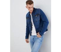 Stretch-Jeansjacke in mittelblauer Waschung