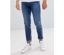 Clark - Enge aschblaue Jeans in getragener Optik