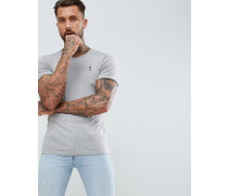 Kalkgraues T-Shirt mit Rollärmeln