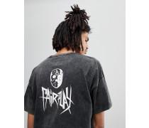 Goldberg - Pigmentgefärbtes T-Shirt mit Totenkopfprint hinten in Schwarz