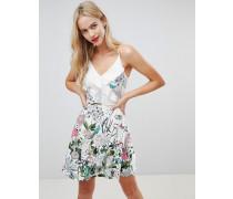 Wickelkleid mit Blumenmuster und Rüschendetail