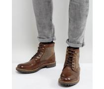 Stiefel im Military-Stil mit Tweed-Akzenten