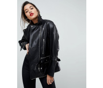 Oversize-Bikerjacke aus Leder in Deconstructed-Optik