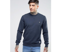 Sweatshirt mit Rundhalsausschnitt und kleinem Logo in Marineblau