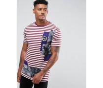 T-Shirt mit Streifen in Burgunder