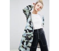 Lange Jacke mit Military-Muster