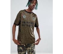 Fußball-T-Shirt mit Leopardenmuster und Retro-Design