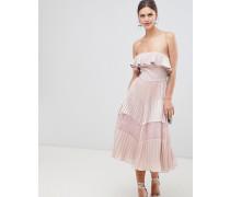 Ärmelloses Kleid mit Rüschensaum Spitzeneinsätzen und plissiertem Rockteil