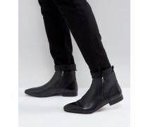 Kg By Kurt Geiger - Stiefel aus schwarzem Leder mit Doppel-Reißverschluss
