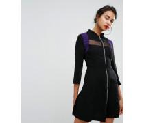Kleid mit Netzstoffeinsatz und Reißverschluss vorn