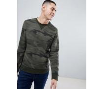 Sweatshirt mit Military-Muster in Destroyed-Optik mit Logo und Rundhalsausschnitt