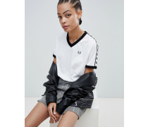 T-Shirt-Kleid mit V-Ausschnitt Ringerrücken und Logostreifen