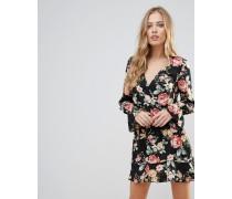 Langärmliges Kleid mit Rüschen und Blumenmuster