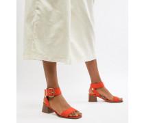 Sandalen mit Blockabsatz in Orange