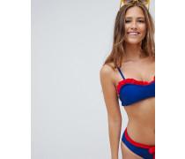 Bikini-Oberteil mit Rüschenbesatz