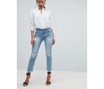 Enge Jeans mit Verzierung und Abnutzungseffekten
